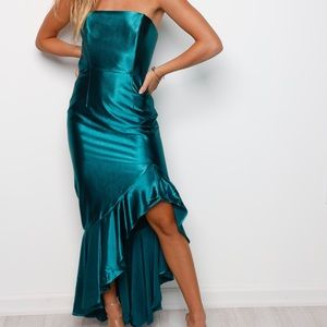 Brand New Teal Strapless Gown Dress Size Small